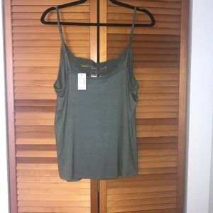 Maurices Tops - Green lace detail tank